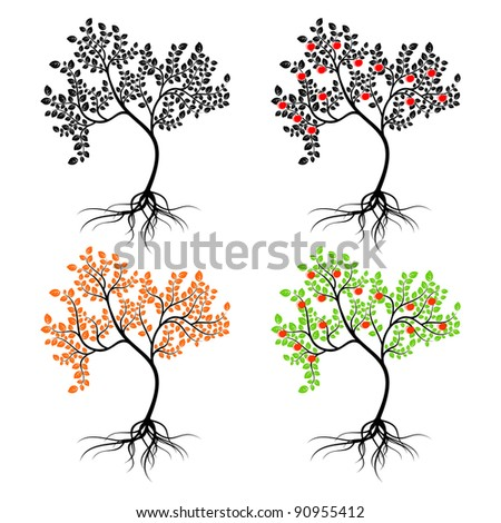 Four different isolated trees on a white background. EPS version is available as ID 88748335.
