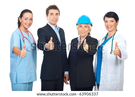 Four different workers giving thumbs up and standing in a row isolated on white background