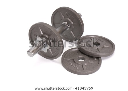 four Disks for dumbbells isolated on white backgrounds