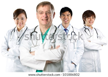 Four doctors wearing a white coats with stethoscope's. Isolated on white.