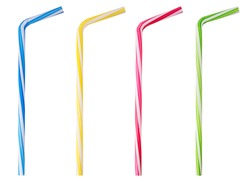 Four drinking straw pink, blue, yellow, green striped isolated on white background. Clipping Path. Full depth of field.