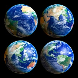 Four Earth Globes with clouds, high res pictures