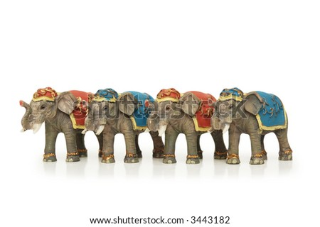 Four elephants isolated  on the white background