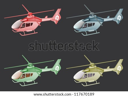 four emergency helicopter isolated on black color