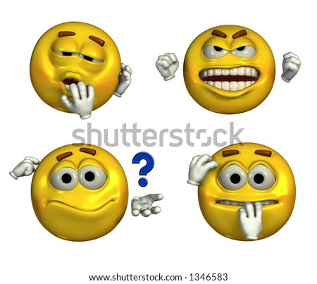 emoticons depicting sleepy  frustrated  questioning and nervous facesFrustrated Emotion