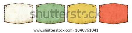 Four empty vintage tin signs on a white background Сток-фото ©
