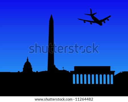four engine plane arriving in Washington DC illustration JPG