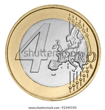 Four euro coin on white