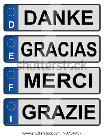 Four European union number plates spelling thank you / European number plates
