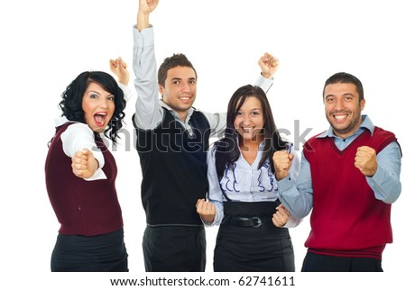Four excited winners people shouting and raising hands  isolated on white background
