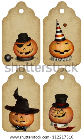 Four festive tag, Happy Halloween.