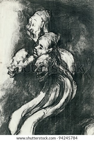 four figures by Goya - charcoal drawing