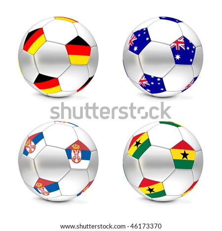 four footballs/soccer balls with the flags of Germany, Australia, Serbia and Ghana - world championship South Africa 2010 group D - stock photo