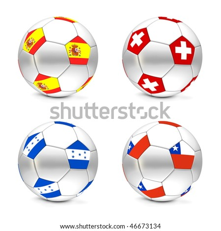 four footballs/soccer balls with the flags of Spain, Swiss, Honduras and Chile - world championship South Africa 2010 group H