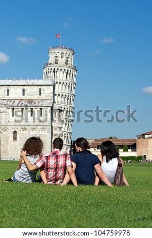Four Friends on Vacation Visiting Pisa,Italy