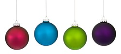 Four frosted glass Christmas ornament hanging from a silver chains against a white background.