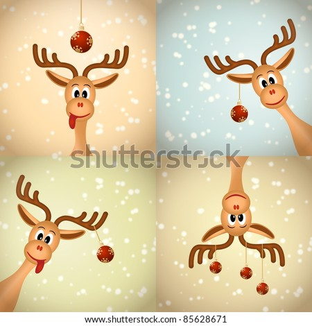 Four funny christmas reindeer with christmas balls and snow - bitmap illustration
