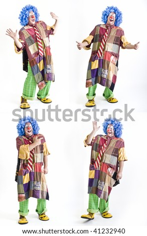 four funny gestures of an happy clown isolated on white