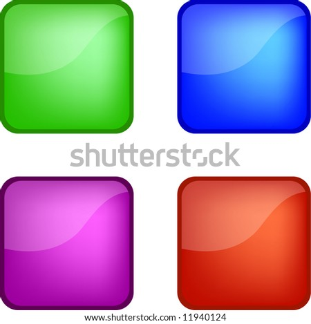 Four gel web icon buttons (green, blue, purple, red)