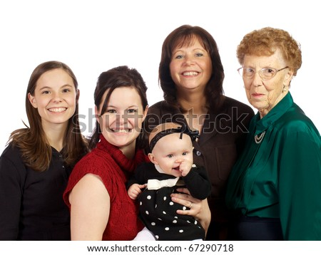Four Generations from great grandma at 85 to her daughter in-law and her daughter's daughter at six months old