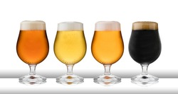 Four glasses of refreshing lager, beer, cider and stout, in  schooner glasses, with condensation, on a white table top and white background