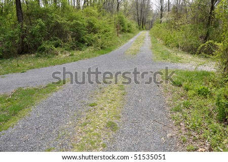 Four gravel paths coming to a crossroads in Henrys Woods in Jacobsburg State Park in Eastern, Pennsylvania.  There is grass surrounding the paths and also many trees.