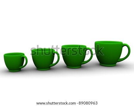 Four green cups. More and more