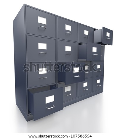 Four grey filing cabinets with open  drawer on a white background