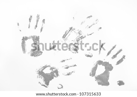 Four grey handprints against a white background