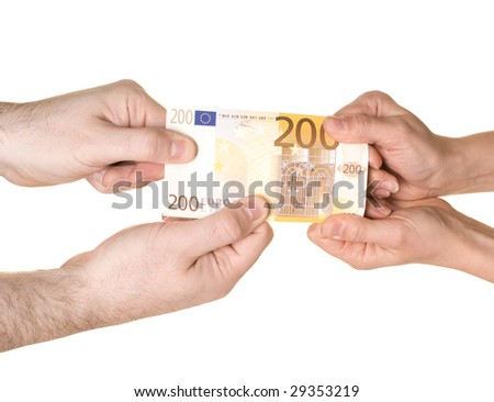 Four hands are fighting over 200 EUROS. Pulling in each direction. White background.