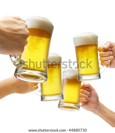 four hands holding beers making a toast