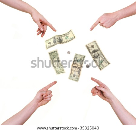 four hands pointing at money isolated over white background