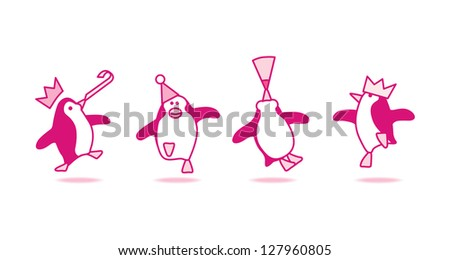 Four Happy Pink Penguins Dancing at a Party - Raster