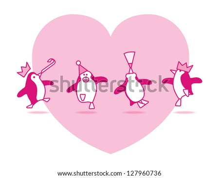 Four Happy Pink Penguins Dancing at a Party with Pink Heart on White Background - Raster