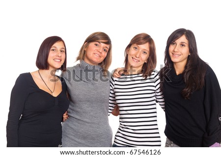 Four Happy Woman with Hands on Shoulders