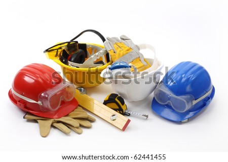 Four helmets- safety gear kit close up