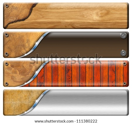 Four Horizontal Vintage and Modern Headers Set of banners modern and vintage with metal screws
