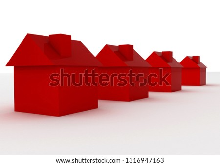 four houses. 3D rendering illustration