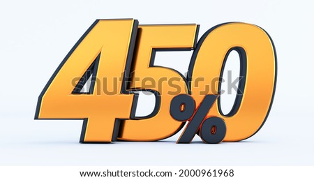 four hundred fifty450 % off on sale. Gold percent isolated on white background. 3d render of a Gold four hundred fifty percent Foto stock ©