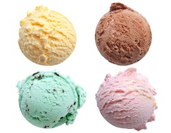 Four ice cream scoops isolated on a white background including vanilla, chocolate, mint and strawberry