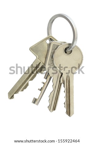 Four keys in single bunch, isolated on white.