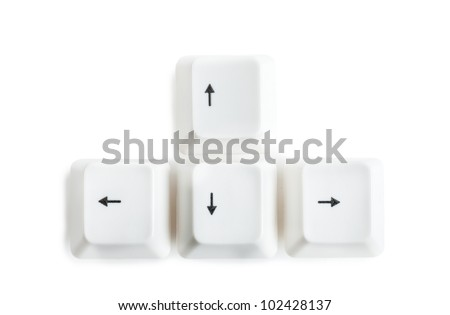 Four keys of keyboard with arrows