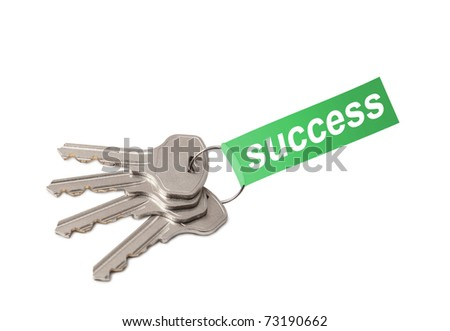 Four keys on ring with word SUCCESS collage