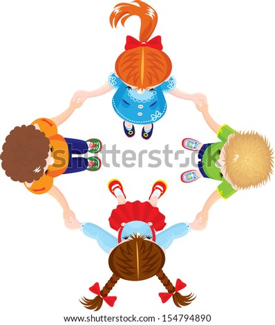 Four Kids Joining Hands to Form a Circle, isolated on white background. Raster version
