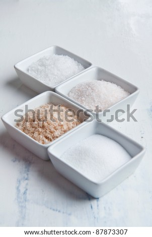 Four kind of salt in white plates on white wooden table