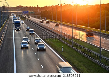 Four lane controlled-access highway in Poland.  Foto stock ©