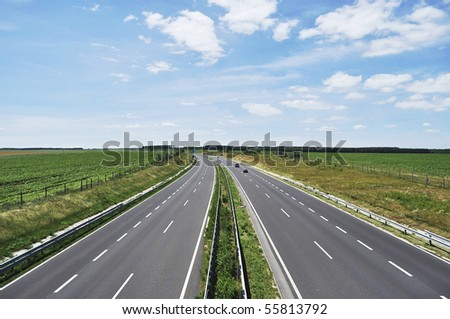 Four-lane motorway leads across the country at Lake Balaton