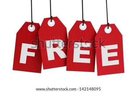 Four Large Red Tags with the Word Free on it Isolated on White Background