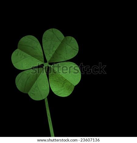 Four leaf clover on Black background, ideal for St Patrick\'s day