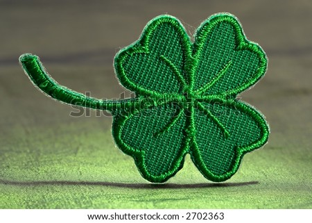 Four leaf green clover-skillful manual silk embroidery - stock photo